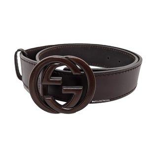 Gucci Brown Leather Logo Belt